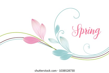 Delicate floral spring background with abstract leaves.