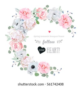 Delicate floral vector round frame with peony, rose, camellia, anemone, eucalyptus, brunia on white. Pink and white flowers. Half moon shape bouquet. All elements are isolated and editable