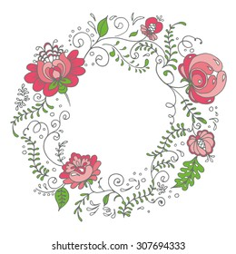 Delicate floral wreath. Vector illustration. An elegant wreath with hand-drawn flowers. Pastel color palette. Can be used for wedding invitations, post cards, wrapping etc.
