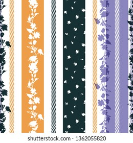 Delicate flower blooming vertical stripes in colorful and trendy seamless pattern vector design for fashion,fabric,web,wallpaper,textile and all prints