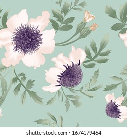 Delicate flowers bunch close up on pale green background. Vector floral seamless pattern.