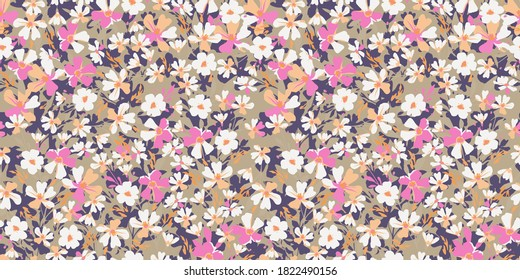 Delicate flowery pattern. Seamless floral background for wrapping, textile, wallpaper. Vector flowers texture.