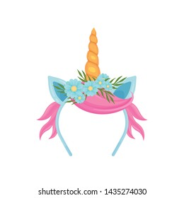 Delicate hair band with a golden unicorn horn, blue ears and pink hair. Vector illustration on white background.