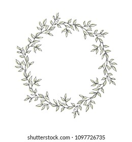 Delicate Hand Drawn Garland Made of Green Twigs. Round Shape Floral Vector Illustration for Card, Invitation, Printing, Decoration, Flyer. Green Sketched Wreath Isolated on a White Background.