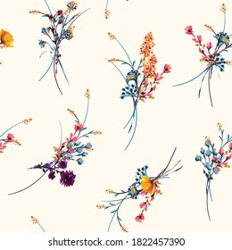 Delicate hand drawn and painted mewdow floral seamless pattern vector,Design for fashion , fabric, textile, wallpaper, cover, web , wrapping and all prints on light beige background color