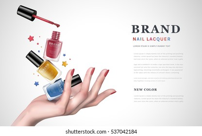 delicate hand up with tricolor stars and several nail lacquer bottles, white background, 3d illustration