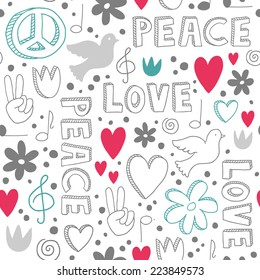Delicate hand-drawn seamless pattern with symbols of peace - doves, hearts, peace signs, flowers and lettering, - white doodles on white background