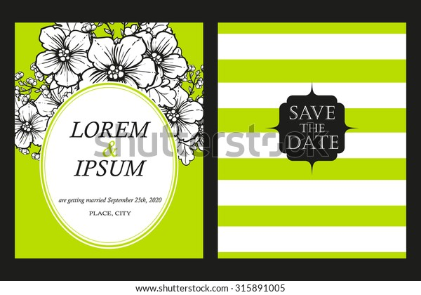 Delicate Invitation Card Beautiful Flowers Easy Stock Vector