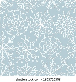 Delicate lace doodle snowflakes neutral blue vector seamless pattern. Whimsy Christmas winter modern boho festive ornate background. Seasonal holidays linear geometric graphic design