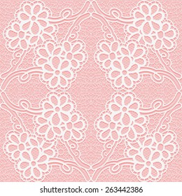 b4911abb81 Delicate lace pattern on a pink background. Seamless floral ornament. Vector  illustration.