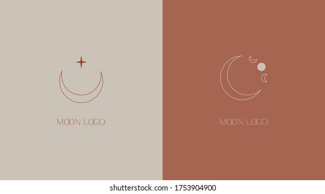 Delicate linear logos depicting the moon. Vector illustration in gentle colors of a logo for a female business. mental health and psychology, beauty, self-care, health, aculism, mysterious signs.