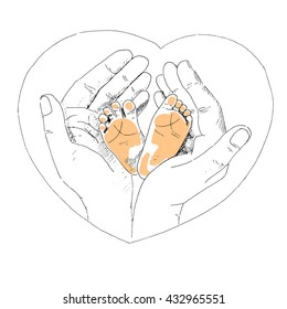 Delicate little feet of newborn baby in a caring and loving hands of mother. The picture painted by hand