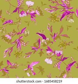 Delicate magenta floral ornament of branches, leaves and inflorescences on a sage green background. Seamless pattern. Vector hand-drawn illustration.