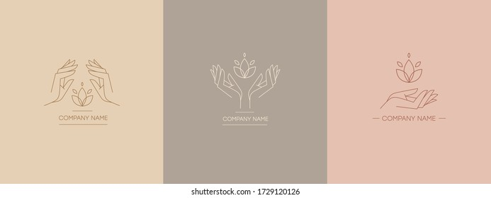 Delicate and natural logos with the image of hands. Vector illustration for female business. Handwork or hand care. Logo for a beauty salon or massage.