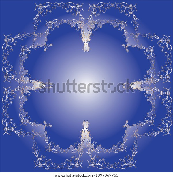 Delicate ornament, elements involved in flower shape in blue color gradient.