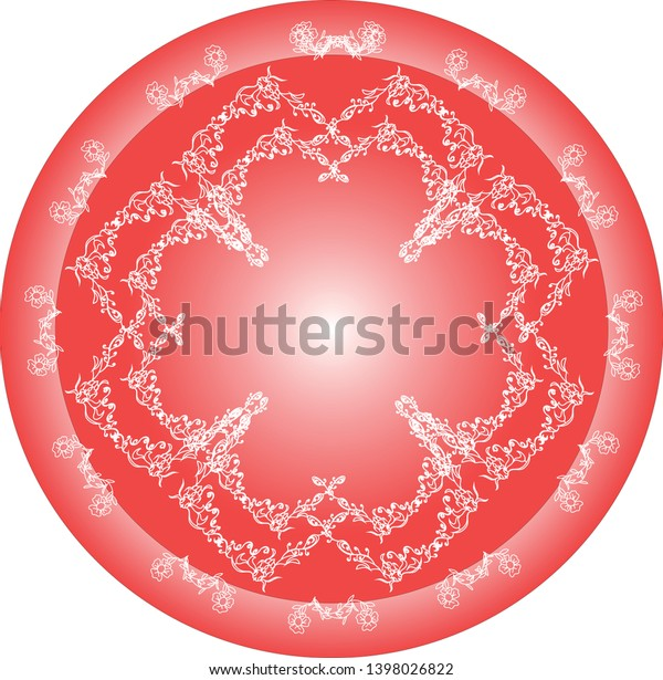 Delicate ornament, elements involved in flower shape in red color gradient.
