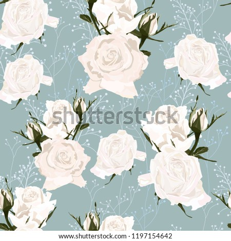 Delicate Pattern White Roses Flowers Herbs Stock Vector Royalty