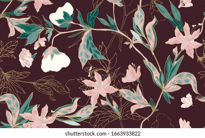 Delicate pink  floral ornament of branches, leaves and inflorescences on a plum background. Seamless pattern. Vector hand-drawn illustration.