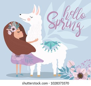 """Delicate poster in pastel color """"Hello spring"""" with flowers and fairy. Editable vector illustration"""