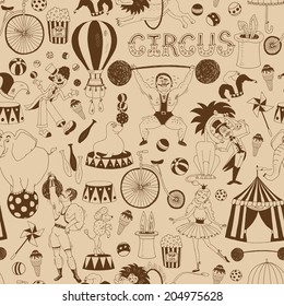 Delicate retro seamless circus background pattern for invitations and wrapping paper with scattered icons of performing animals  the Big Top  performers  equipment and the word Circus in square format