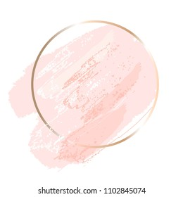 Delicate rose spots and pink dots and lines. Gold round contour frame.