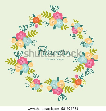 67cba16b9 Delicate round frame of cute flowers. Pattern can be used for design, decor,