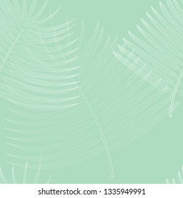 Delicate Seamless Pattern with White Contour Palm Branches Placed on the Light Turquoise Background. Decorative Design Elelment for Christian Ceremony, Easter Holidays and other Purposes.