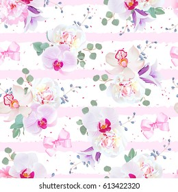 Delicate seamless vector pattern in purple, pink and white tones. Peony, violet campanula, orchid, eucalyptus. Seamless vector print with pink geometric horizontal ornament