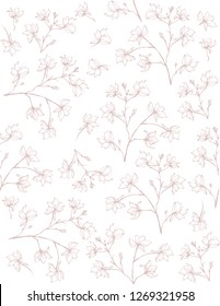 Delicate Sketched Branch Vector Pattern. Hand Drawn Pale Light Pink Twigs on a White Background. Lovely Blooming Sprigs. Elegant Floral Pattern.