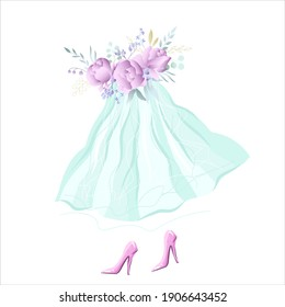 Delicate skirt with flowers, pink shoes. Vector illustration.