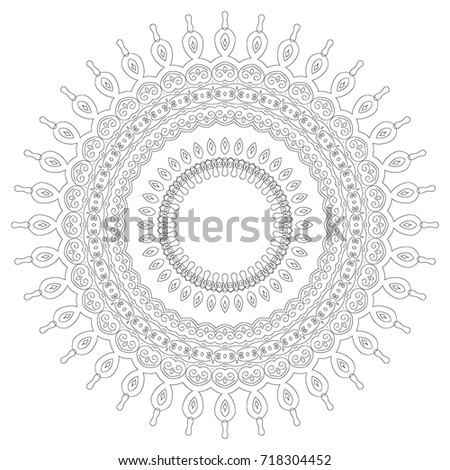Delicate Snowflake Adult Coloring Book Page Stock Vector (Royalty ...