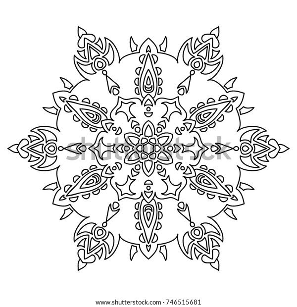 Delicate Snowflake Adult Coloring Book Page Stock Vector ...