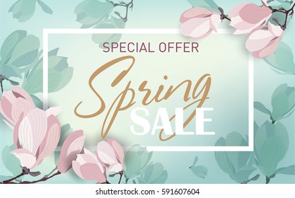 Delicate spring sale background with magnolia flowers. Template for design poster, banner, invitation, voucher. Vector illustration.