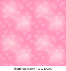 Delicate transparent white hearts on a pink background. Valentine's day seamless pattern. Vector illustration
