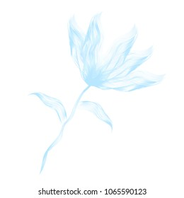 Delicate vector illustration of blue flower, made like brush strokes, for your tender projects.