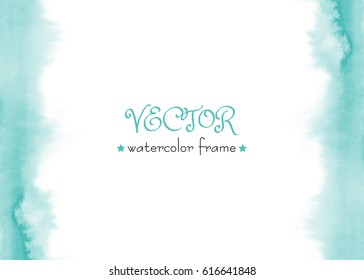Delicate vector watercolor frame. Blue, green, turquoise watercolour background. Hand painted abstract water-color wash texture. Ombre gradient.