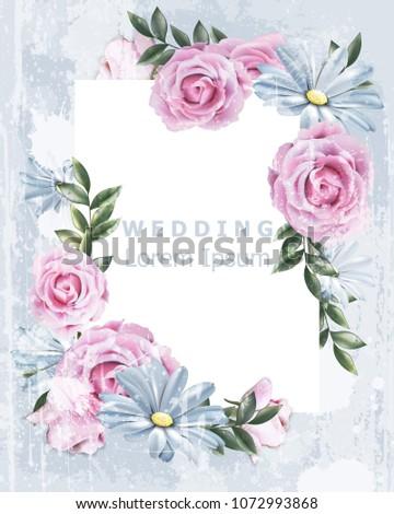 73fc75156 Delicate Vintage frame with rose flowers Vector. Wedding Invitation floral  decor. Old Grunge effect