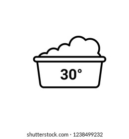 delicate  washing 30 degree vector icon,  graphic symbol isolated on white.