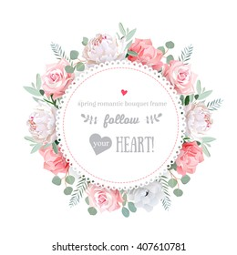 Flower design images stock photos vectors shutterstock delicate wedding floral vector design frame peony rose anemone pink flowers mightylinksfo