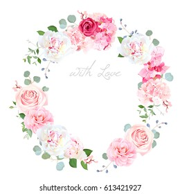 Delicate wedding floral vector design round frame. Beautiful spring bouquet. Peony, rose, hydrangea, camellia, eucalyptus. Colorful objects set. All elements are isolated and editable