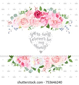 Delicate wedding floral vector design card. Beautiful spring bouquet. Peony, pink and red rose, hydrangea, camellia, eucalyptus, blue berry. Crowns backdrop. All elements are isolated and editable