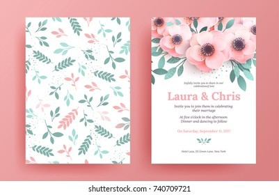 Delicate wedding invitation templates. Pink design cover set with flowers and green leaves. A luxurious poster for the holiday, the bright market, the market.