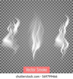 Delicate white set  cigarette smoke waves on transparent background vector illustration