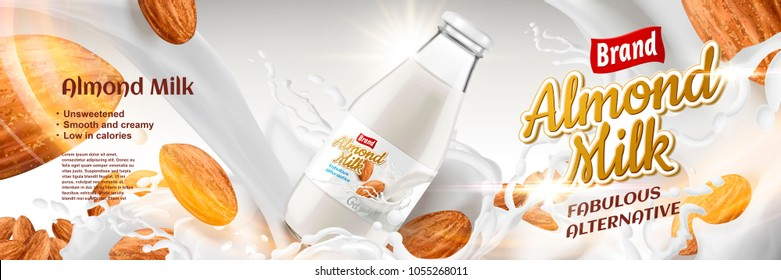 Delicious Almond milk with splashing liquid and seeds around glass bottle container in 3d illustration