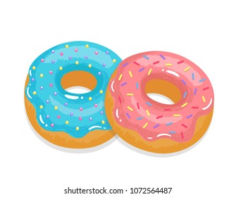 Delicious appetizing donuts with glaze and sprinkling. Vector illustration