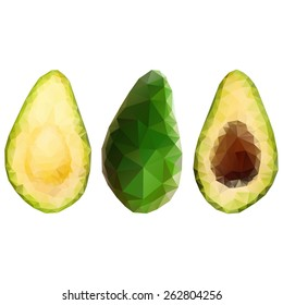 Delicious avocado polygonal geometric vector illustration, isolated on white background. Consists of the whole green fruit and two cut views, with yellow pulp and brown pit.