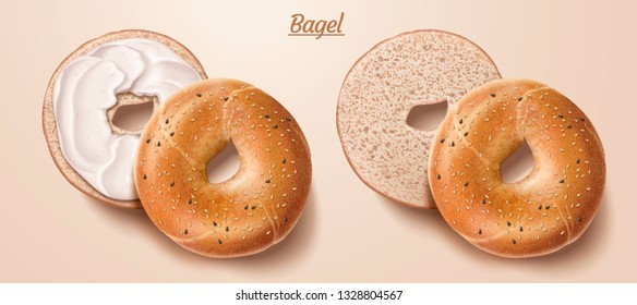 Delicious bagel with cream and sesame in 3d illustration