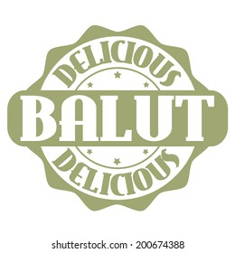 Delicious balut stamp or label on white, vector illustration