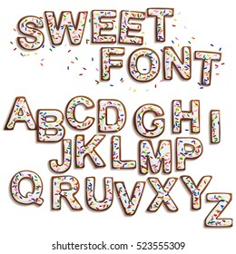 Delicious beautiful Christmas Gingerbread Font,Sweet cookies with white icing and colorful  sprinkles