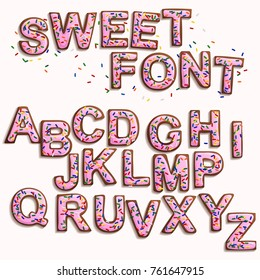Delicious beautiful Christmas Gingerbread Font,Sweet cookies with pink icing and colorful sprinkles.Isolated letters for writing text